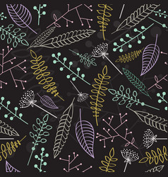 Seamless pattern with linear leaves and branches vector