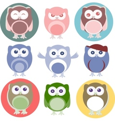 Set of cartoon owls vector image vector image