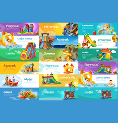 set of horizontal banners with playgrounds vector image
