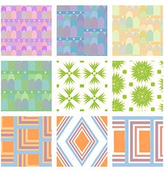 Set of nine seamless patern vector