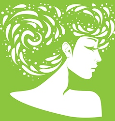 silhouette of a girl with original hairstyle vector image vector image