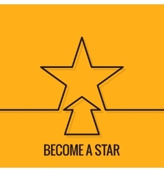 Star concept line on yellow background vector
