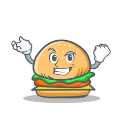 successful burger character fast food vector image vector image