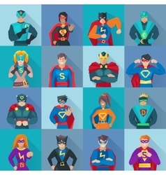 Superhero square icons set vector