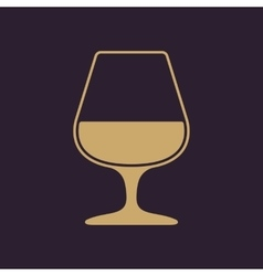 The glass with brandy icon Brandy symbol Flat vector image vector image