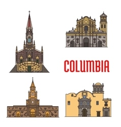 Tourist architecture landmarks of Colombia vector image vector image