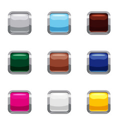 Types of online buttons icons set cartoon style vector