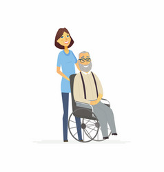 Volunteer with a disabled man - cartoon people vector