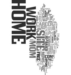 Work at home mom site text word cloud concept vector