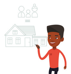 young man drawing his family house vector image vector image
