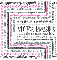 10 hand drawn decorative seamless pattern brushes vector