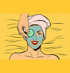 Cucumber mask on woman face skin beauty vector