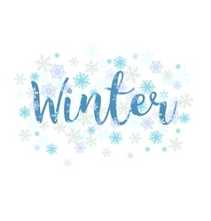 Winter calligraphy text and snowflakes vector
