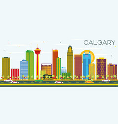 calgary skyline with color buildings and blue sky vector image