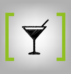 cocktail sign black scribble vector image