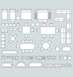 Top view interior with line furniture icons vector