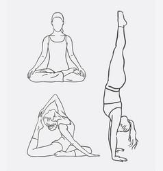 Yoga meditation sport artistic sketches vector