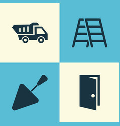 Building icons set collection of entrance stair vector