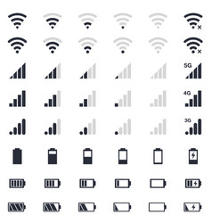Mobile interace icons battery charge wi-fi vector
