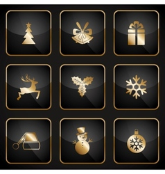 Set of black and gold web buttons for Christmas vector image
