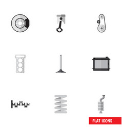 Flat icon component set of cambelt heater conrod vector
