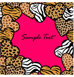 Animal print hearts seamless frame vector