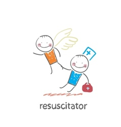 resuscitator keeps flying away into the sky vector image