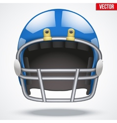 Realistic blue american football helmet front view vector
