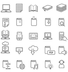 School online e-learning e-book book line icons vector