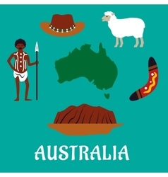 Australian conceptual travel icons and landmarks vector