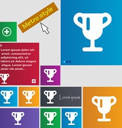 Winner cup Awarding of winners Trophy icon sign vector image