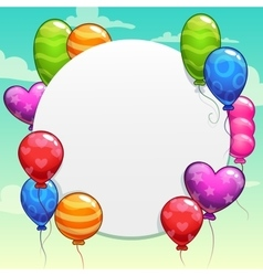 Cartoon background with bright colorful balloons vector