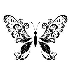 Butterfly black pictogram vector