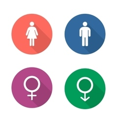 Gender symbols flat design icons set vector