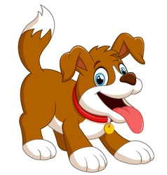 Cute fun dog cartoon vector
