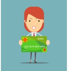 Young business woman holding new credit card vector