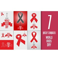 Set of world aids day banners flyers and posters vector