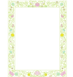 Green spring frame with flowers vector