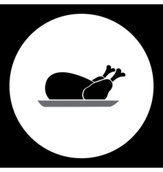 Simple black silhouette of baked chicken icon vector