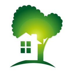 Green house and tree vector