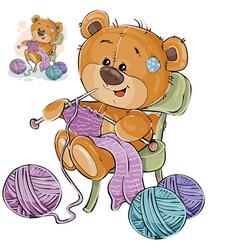 a brown teddy bear sitting vector image