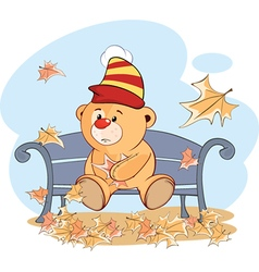 A stuffed toy bear cub and falling leaves Cartoon vector image vector image
