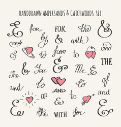 ampersands and catchwords set vector image vector image