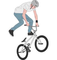 Bmx stunt bicyclist - vector