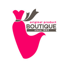 boutique colorful logotype with red dress isolated vector image