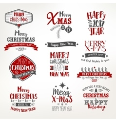 Bright Christmas Lettering Set vector image vector image