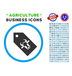 Bull tag rounded icon with set vector