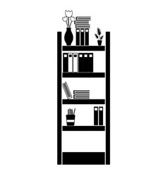 Contour education bookcase with folders document vector