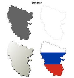 Donetsk blank outline map set - Russian version vector image vector image