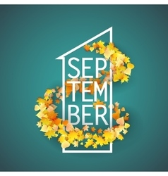 First September with Autumn leaves Background vector image